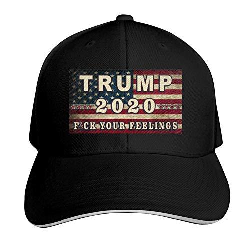 YOHOMO Trump 2020 Fuck Your Feeling Adjustable Baseball Caps Vintage Sandwich Hat Sandwich Cap Peaked Trucker Dad Hats Black
