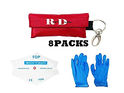 CPR Mask Emergency Kit Rescue Face Shields with Gloves One-Way Valve Breathing Barrier with Pair of Powder Free Nitrile Gloves for First Aid and AED Training (8packs)