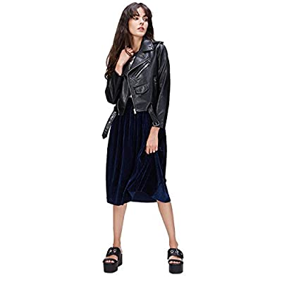 LY VAREY LIN Women's Faux Leather Motorcycle Jacket PU Slim Short Biker Coat: Clothing