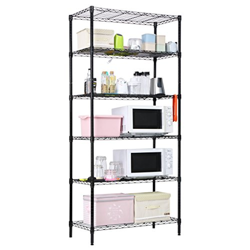 LANGRIA 6 Tier Heavy Duty Extra Large Wire Storage Rack Shelving Unit for Garage Kitchen Workshop, 661 lbs Weight Capacity, 35.4'' x 17.7'' x 78.7'', - Wire Units Storage