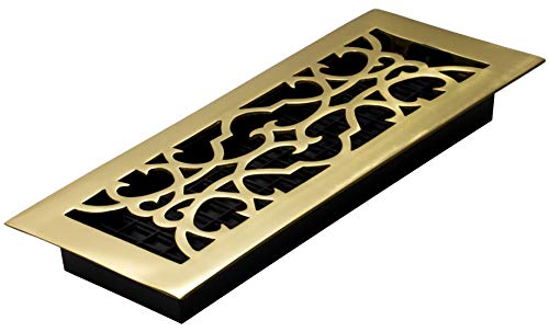 Decor Grates A412 4-Inch by 12-Inch Victorian Floor Register, Solid Brass 4x12 Victorian Floor Register