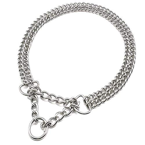 Supet Martingale-Style Chain Training Collar, Double Row, Chrome Stainless Steel Choke Metal Pet Collars - 2 Row Chrome Adjustable Collar