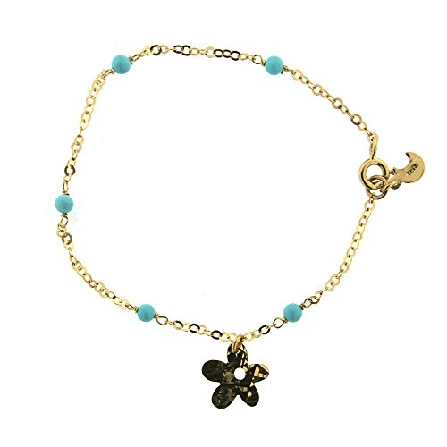 18K Yellow Gold Diamond Cut Flower Bracelet with turquoise paste beads by Amalia