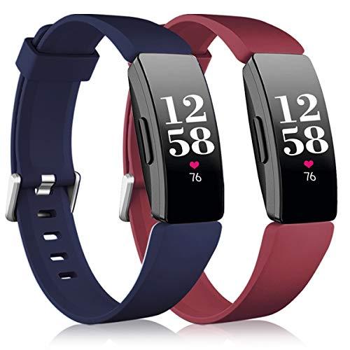 Vobafe 2 Pack Bandje Compatibel met Fitbit Inspire Bandje/Inspire HR Bandje, Zachte Siliconen Sportband Vervangende…