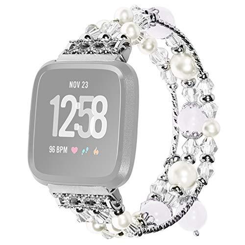 CapsA Watch Band Agate Bracelet Strap Luxury Crystal Beads Round Beads Wrist Strap Compatible Fitbit Versa Lite ()