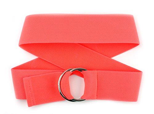 NYFASHION101 Unisex Canvas Stretch Elastic Belt w/ Silver Metal Round Buckle, Coral