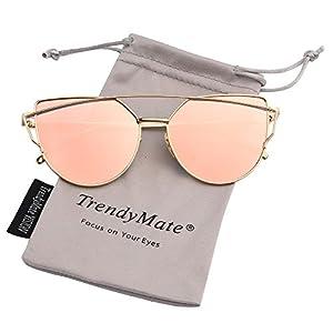 TrendyMate-Womens Street Fashion Metal Twin Beam Flat Mirror Lens Cat Eye Sunglasses … (Gold / Pink, 57mm)