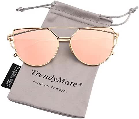 TrendyMate-Womens Street Fashion Metal Twin Beam Flat Mirror Lens Cat Eye Sunglasses