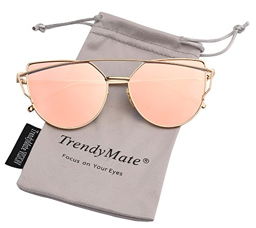 TrendyMate-Womens Street Fashion Metal Twin Beam Flat Mirror Lens Cat Eye Sunglasses … (Gold / Pink, - Mirror Sunglasses