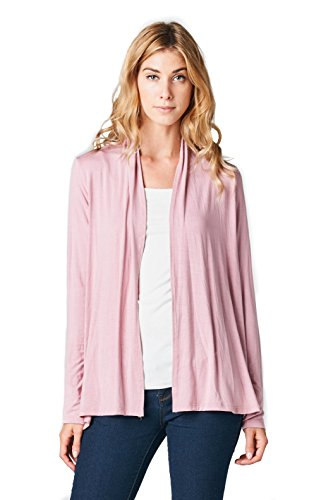ReneeC. Women's Extra Soft Natural Bamboo Open Front Cardigan – Made in USA (Large, Rose)