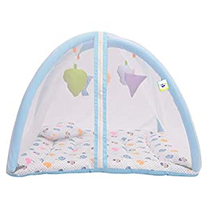 Toddylon New Born Baby Boy's & Baby Girl's Printed Bedding Set Play Gym Mosquito Net Bed with Hanging Toys & Pillow (0-6…