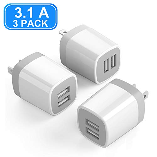USB Wall Charger, Vogek 3.1A 3-Pack Dual Port USB Wall Charger Universal Power Adapter Compatible with Samsung Galaxy, LG, HTC, Moto, Kindle, MP3, Bluetooth Speaker Headset-White