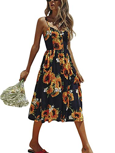 SWQZVT Women's Dress Summer Spaghetti Strap Sundress Casual Floral Midi Backless Button Up Swing Dresses with Pockets S-3XL