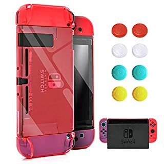 VEGCOO Switch Case, Dockable Protective Case Crystal Clear Shockproof Ergonomic Anti-Scratch Cover for Nintendo Switch Console & Accessories (with 1 Glass Screen Protector & 8 Thumb Grips Caps)-Red