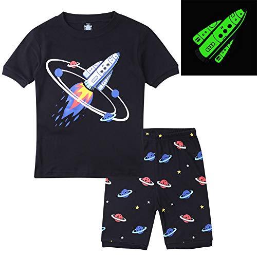 Hsctek Boys Pajamas, Short Sleeve Pajamas for Boys, Summer Cotton Kids Pajamas(Glow in Dark Rocket, -
