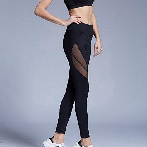 De la Mujer de compresión Leggings medias de entrenamiento running fitness Pillates–Pantalones de Yoga negro
