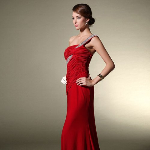Evening Mermaid Charmeuse Women's Train Sweep Shoulder Red One Dearta Dresses 0avq1wO1