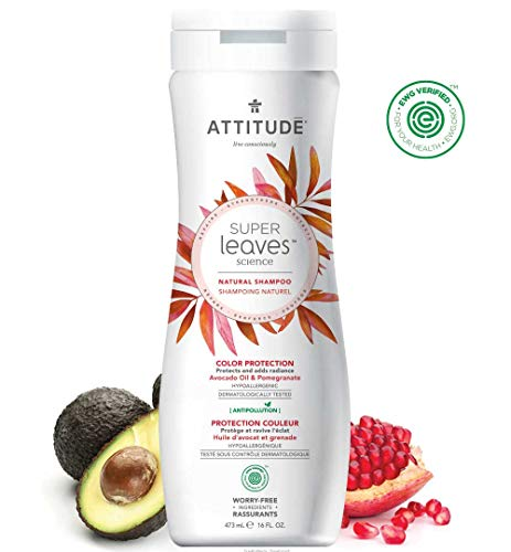 ATTITUDE Super Leaves, Hypoallergenic Color Treated Hair Shampoo, Avocado Oil & Pomegranate, 16 Fluid Ounce