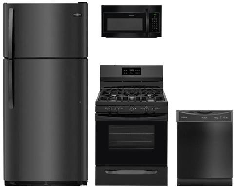 (4-Piece Black Kitchen Package FFTR1821TB 30