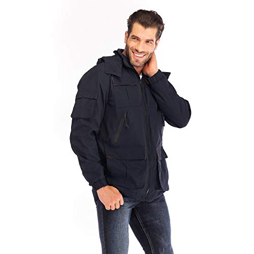 Yozai Men's Outdoor Sports Hooded Windproof Jacket Waterproof Softshell Jacket