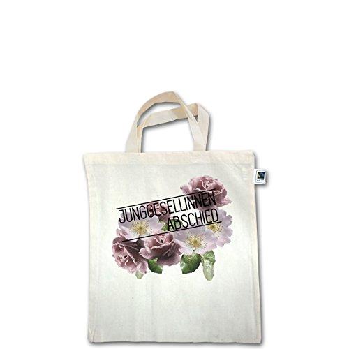 JGA Junggesellinnenabschied - Blumen Junggesellinnenabschied - Unisize - Natural - XT500 - Fairtrade Henkeltasche / Jutebeutel mit kurzen Henkeln aus Bio-Baumwolle