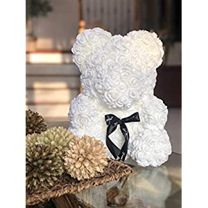 Rose Flower Bear - Fully Assembled 16 inch Hugz Teddy Bear - Over 20 Dozen Artificial Flowers - Best Gift for Mothers Day, Valentines Day, Anniversary, Bridal Showers (White) - w/Clear Gift Box 3