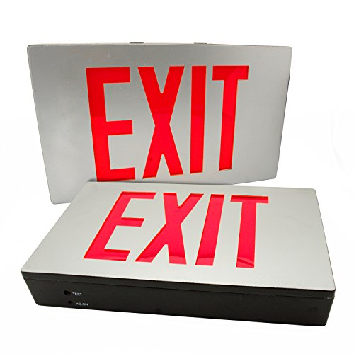eTopLighting [2-Pack] Die Cast Exit Sign LED Light Panel, Aluminum Brushed with Red Lettering, Wall and Ceiling Mount with Battery Back-Up, AGG2733 (Classic White Exit Signs)