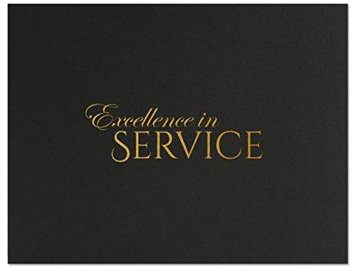 Successories 751550BK Excellence in Service Linen Certificate Folders, Black
