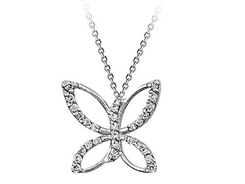 Pendentif Papillon Diamants-Femme- or Blanc 215P0012