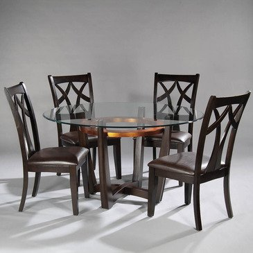 Bassett Mirror Elation 5 Piece Round Dining Room Set W/ Wood Back Chairs