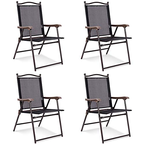 Giantex Set of 4 Folding Sling Back Chairs Indoor Outdoor Camping Chairs Garden Patio Pool Beach Yard Lounge Chairs w/Armrest (Black)