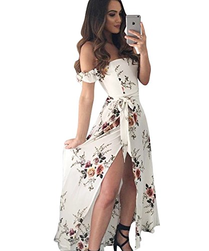 Long White Summer Dress - Poptem Womens Summer Maxi Beach Wedding Dress Off Shoulder Ruffles Floral Casual Flowy Split Sundresses(White M)