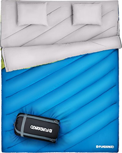 FUNDANGO Queen Size XL Double Sleeping Bag for Camping ,Hiking,Traveling,2 Person Sleeping Bag with 2 Pillows and Compression Bag ()