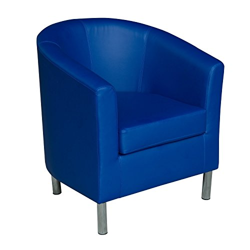 HomCom Modern PU Leather Tub / Barrel Club Arm Seat Chair - Blue