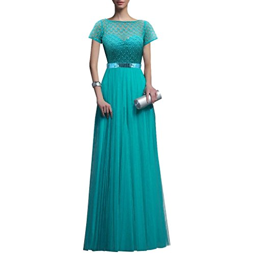 Grecian Style Evening Gowns (LETSQK Women's Tulle Floor Length Cap sleeves Grecian Style Lace Evening Prom Dresses)