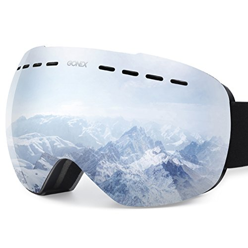 Gonex Oversized Ski Snow Goggles Anti-Fog UV Protection with Frameless Double Spherical Lens for Skiing Snowboard Skate Winter Sports+ Goggle Case(Silver Lens)