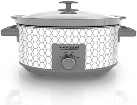 Black Decker SC1007D Slow Cooker, 7 Quart, Geometric Cream