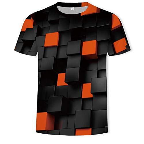Mens Summer 3D Colorblock Printed Short Sleeve Comfort Shirt Tops Orange