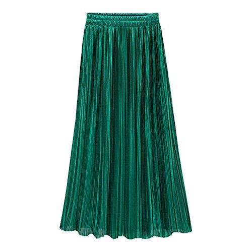 Kingwo Jupe Plisse Quotidienne de la Mode Haute Dcontracte Haute Taille des Femmes Vert