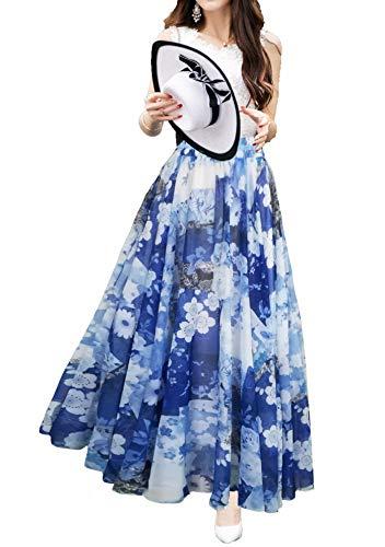 Afibi Womens Blending Chiffon Retro Long Maxi Skirt Vintage Dress (Medium, Pattern ()