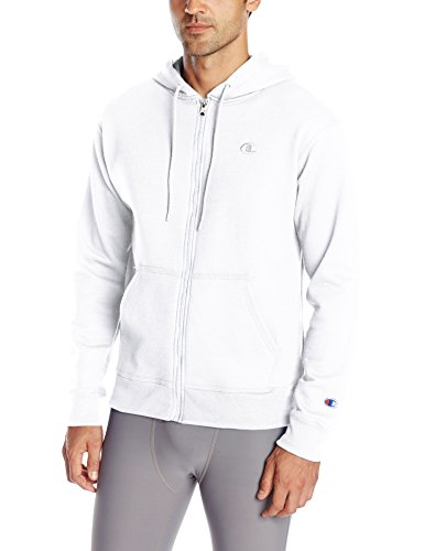Champion Men's Powerblend Full Zip Hoodie, White, X-Large