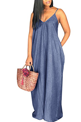 Chuanqi Womens Summer Spaghetti Strap Dresses Casual Denim Deep V Neck Loose Maxi Dress (Small, Dark ()