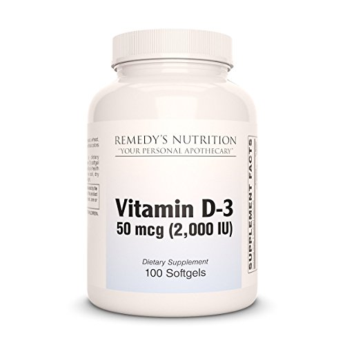 D-3 2000 i.u. Remedys Nutrition MEGA STRENGTH Organic Vegan 1,000 mg / 50.000 mg per bottle VCaps