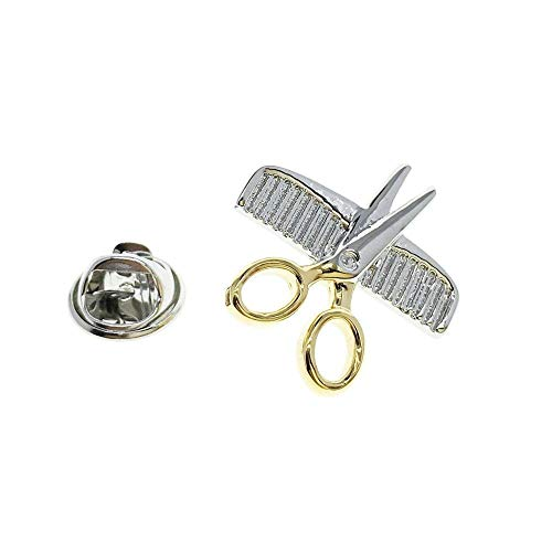 Badges Comb and Scissors Fashion Brooch Pin Badges Buttons Pins with a Gift Box P10144 ()