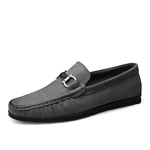 46 Aire Libre Color Cuero EU de Zapatos de amplios Gris Hombres al en Genuino conducción Ligero más mocasín de tamaño Mocasines Gris para Ofgcfbvxd Deslizamiento Casuales O7Rqgx