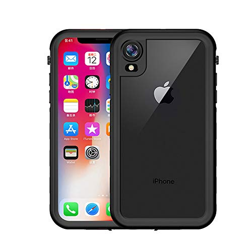 iPhone XR Waterproof Case, Yuker Anti-Scratch Built in Screen Protector, Full Body Protection, IP68 Certified with Face ID Dirtproof Shockproof Snowproof Case for iPhone XR 6.1 inch (Black/Clear)