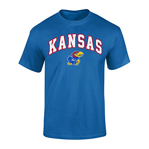 Elite Fan Shop NCAA Men's Kansas Jayhawks T Shirt Team Color Arch Kansas Jayhawks Blue Large