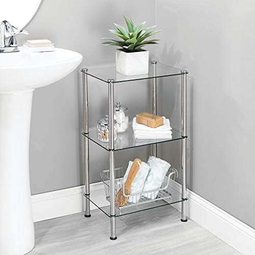 home, kitchen, storage, organization, racks, shelves, drawers,  standing shelf units 3 picture mDesign Bathroom Floor Storage Rectangular Tower, 3 Tier in USA