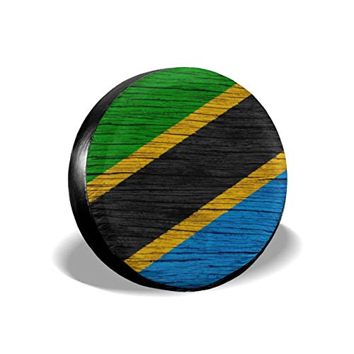 Tanzania Wooden Texture Tanzanian Flag Universal Spare Wheel Tire Cover Fit for Truck Camper Van Jeep Trailer RV SUV Trailer Car Accessories 14 15 16 17 Inch Decorations Car Interior Girl