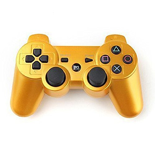 GreeGear Lego Bluetooth Wireless Remote Game Gaming Controller Gamepad Consoles Joypad Joystick Dualshock for Sony Playstation III PS3 with 6-Axis And Dual-Vibration -gold